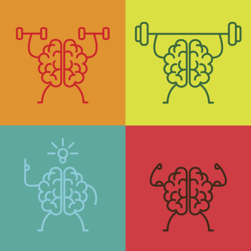 Brain power icons in vector